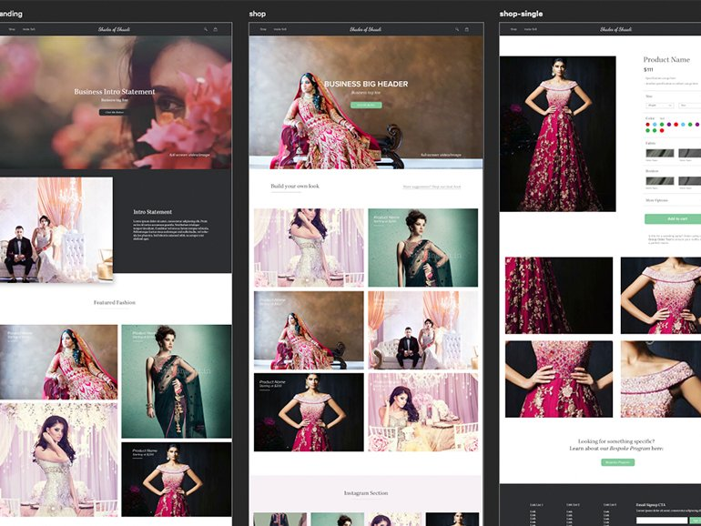 Visual layouts for a new website design